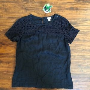 J.crew embroidered blouse cotton black